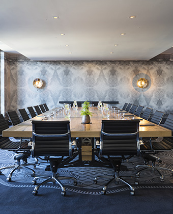conference board room with notepads